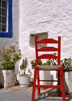 Greek interior designs - red chair