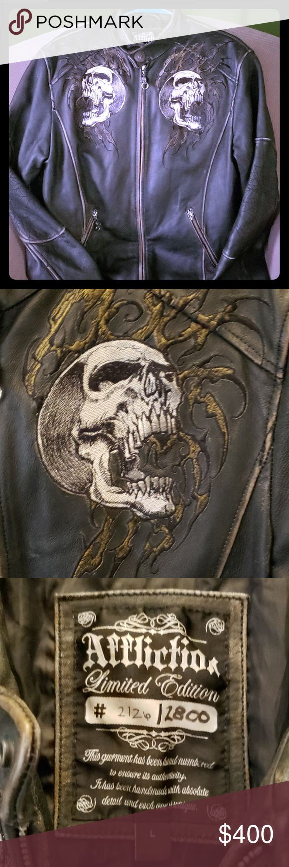 Mens Affliction black leather jacket Xl (With images
