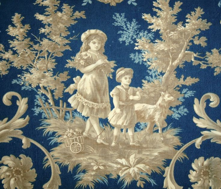 Rare 18th Century Prussian Blue Antique French Toile Large Sofa Pillow - Children in the Garden. via Etsy.