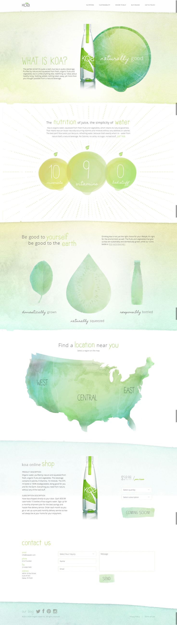 web design inspiration: water colors with lots of white space; very calming and refreshing