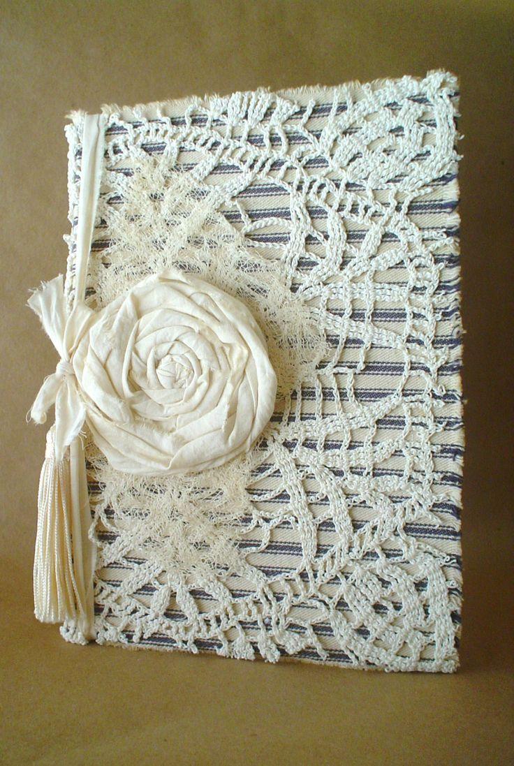 Shabby Vintage Lace Doily Fabric Ticking Hardback by ShabbySoul