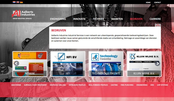 Ontwerp website Aalberts Industrial Industries Services