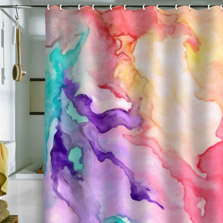 buy white fabric shower curtain,, doodle with sharpies,, spray rubbing alcohol to obtain same effect---can customize it to bathroom colors