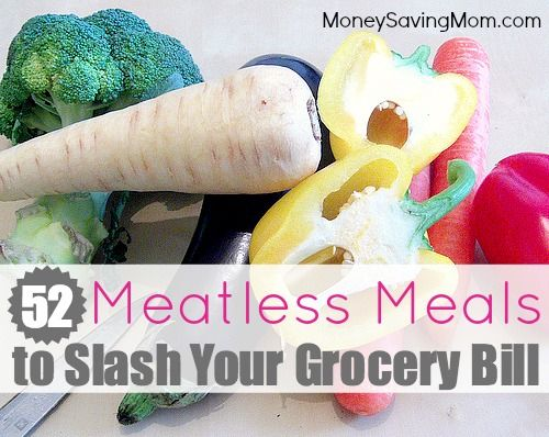 Love this! Meatless doesn't have to mean tasteless! Here are 52 meatless meal ideas to help you slash your grocery bill!
