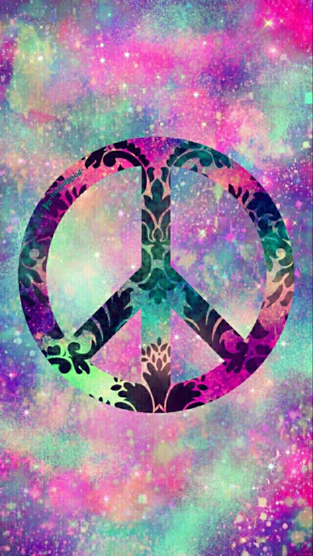 Damask peace sign galaxy wallpaper I made for the app CocoPPa.