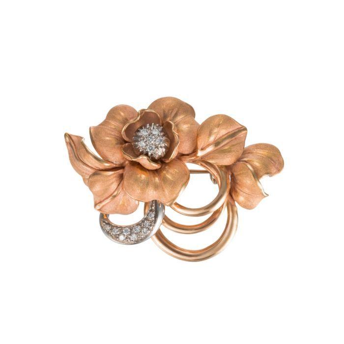 Annamaria Cammilli 18K Two Tone Gold & Diamond Flower Pin (=)