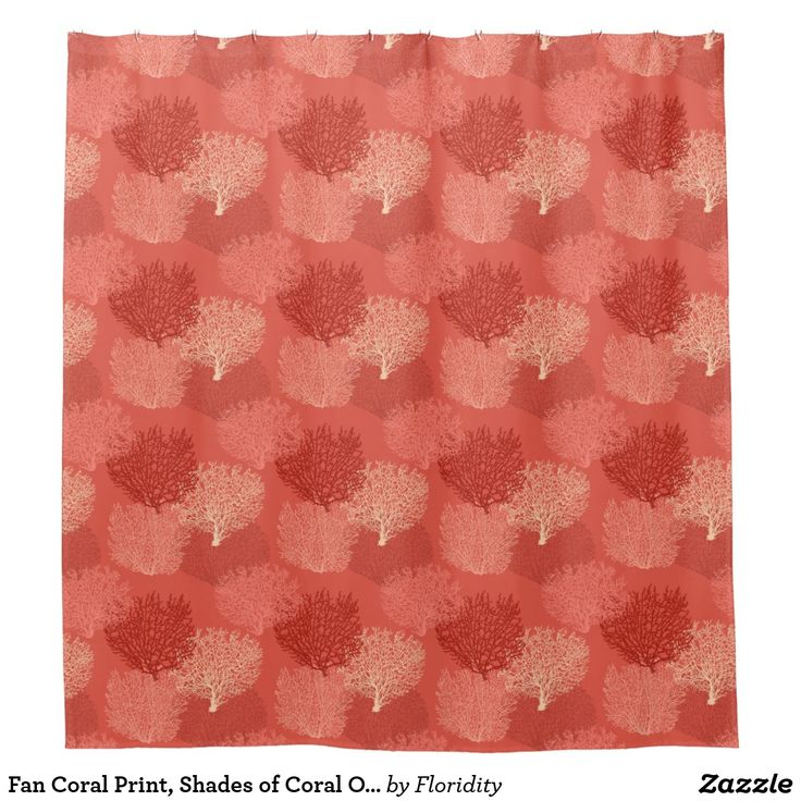 Fan Coral Print, Shades of Coral Orange Shower Curtain