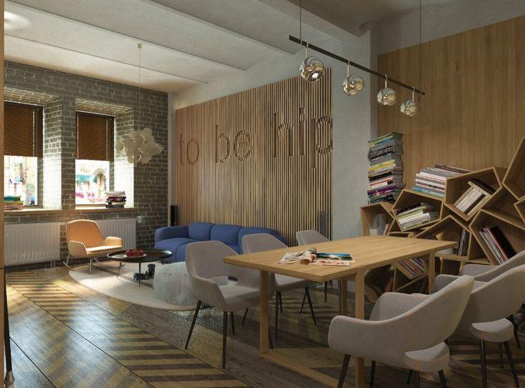 Гостиная, холл в цветах: светло-серый, коричневый, бежевый. Гостиная, холл в стиле лофт.