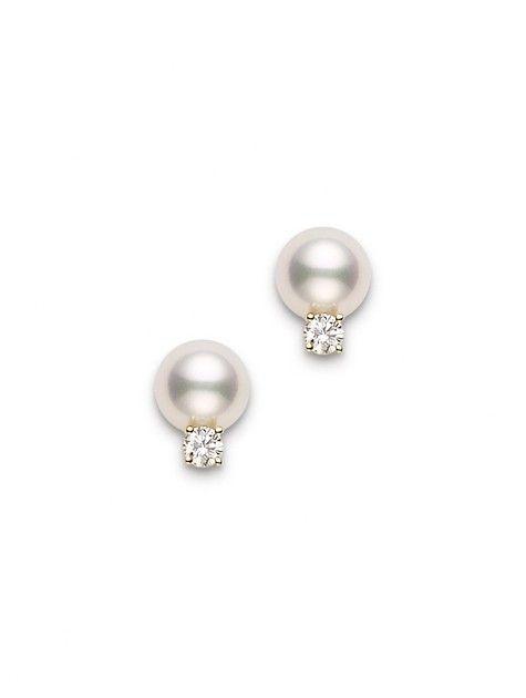 ~ Clous d'oreilles or jaune et diamants - perles de culture ~