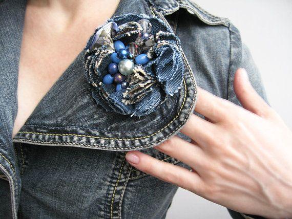 Шикарная брошь Джинсовая мода, цветы носить, цветы в волосах, жемчуг и богемского стекла