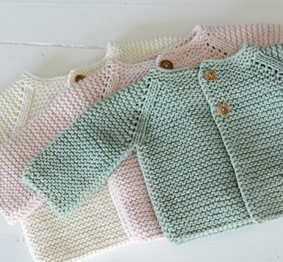 Organic cotton baby jacket garter stitch