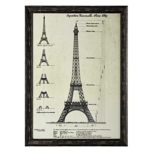 Gustave Eiffel - Cuadro de madera negro 80 × 110cm