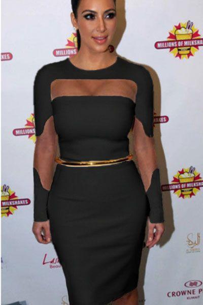 Black Mesh Cutout Midi Dress