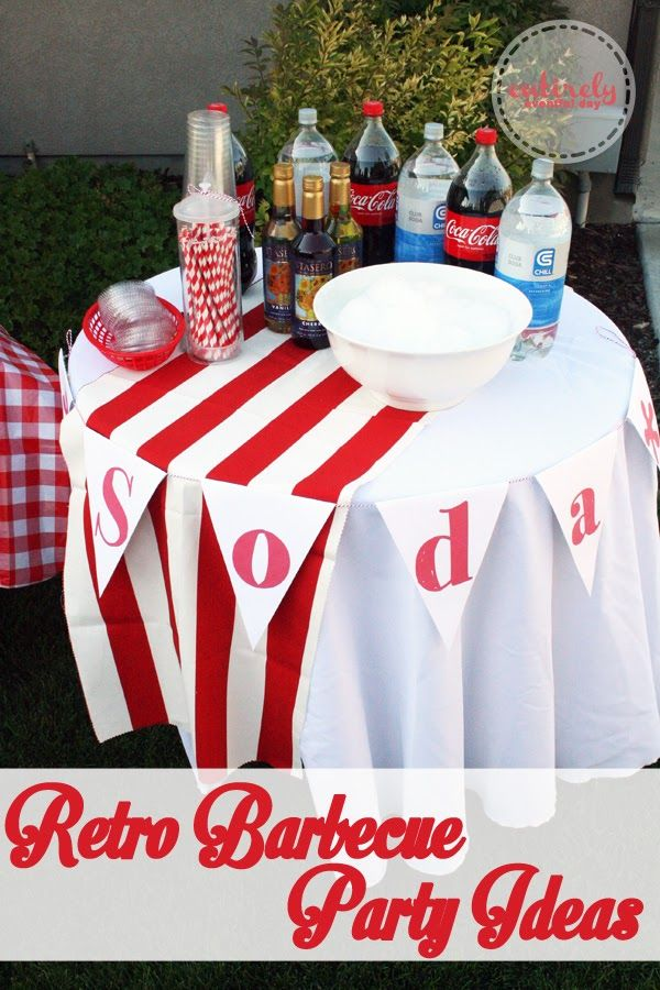 How to create a red and white retro themed barbecue party complete with an old fashioned soda fountain. Adorable free printables! entirelyeventfulday.com #parties #barbecue
