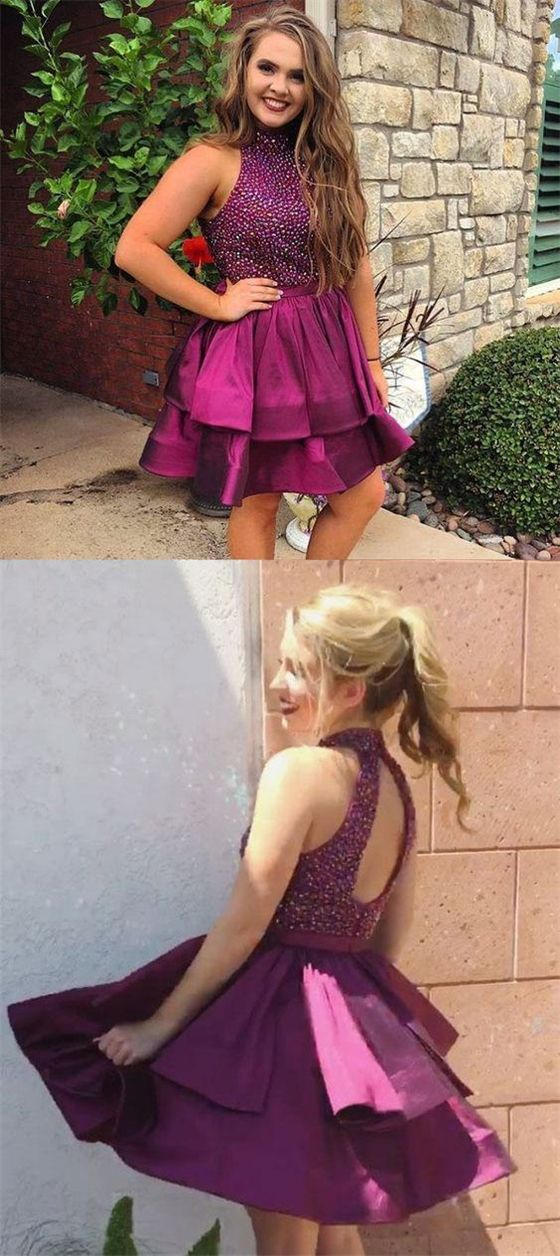 56f30f6f93 Open Back Rhinestone Plum Homecoming Dresses