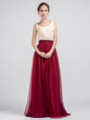Long Two Piece Bridesmaid Dresses with Marsala Tulle Skirt