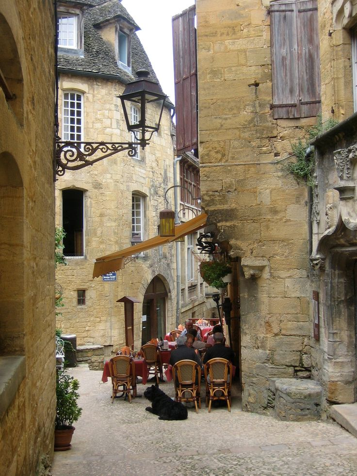 Sarlat, Dordogne - France I would love to sit here. Drink coffee and chat. No schedule or agenda. Send me to this place.