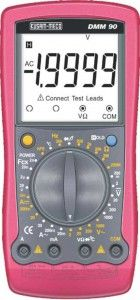 KM 90-DIGITAL MULTIMETER-KUSAM MECO • Display 4½ digit LCD display (19999 counts) • Large LCD (53 mm) for clear reading • Digit size : 20 mm (H) • CE Approved • AC/DC voltage, AC/DC current, Resistance, Capacitance, Temperature, Frequency, Diode, Continuity, Transistor function.