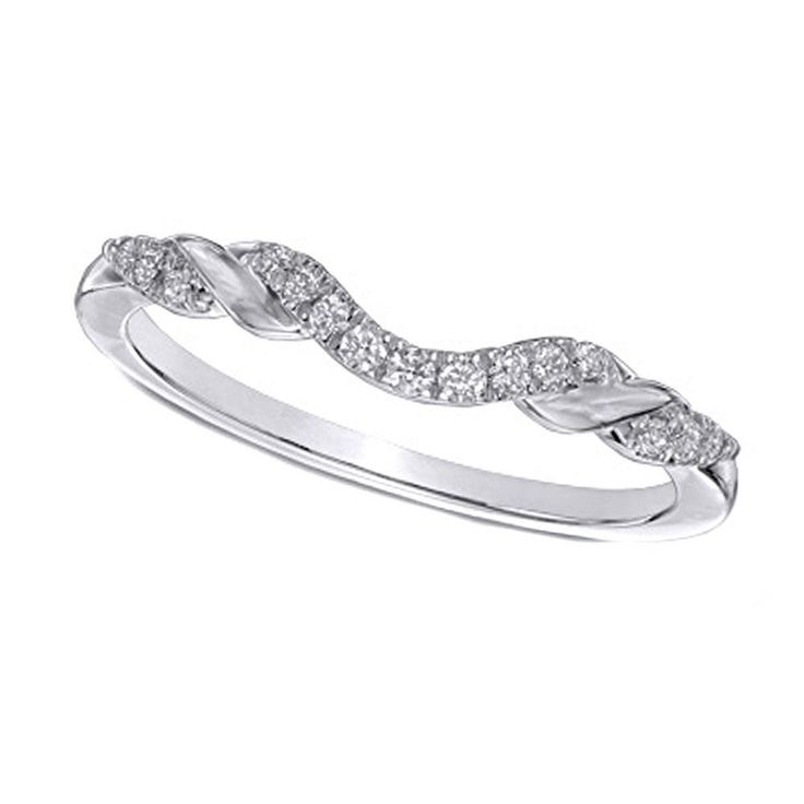 1/8 CT Natural Diamond 10K Solid Gold Ribbon Wrapped Contour Wedding Band Ring #AffinityFashionJewelry #WithDiamonds
