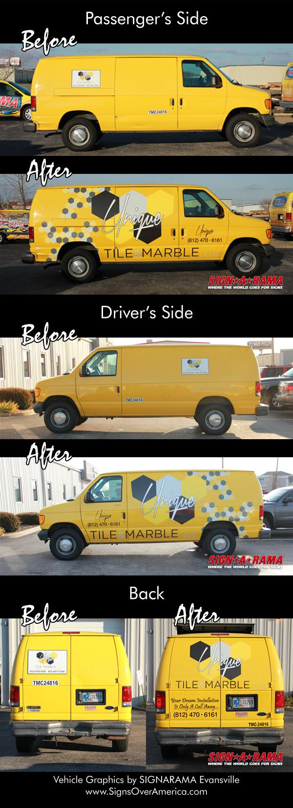 Before and After Vehicle Graphics for Unique Tile and Marble by SIGNARAMA Evansville.