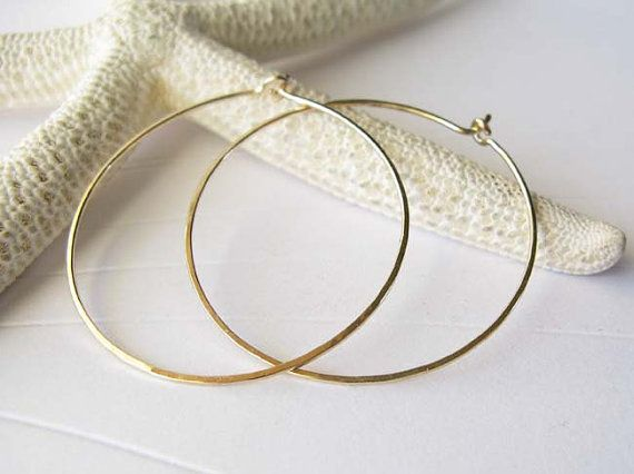 These Are Our Medium Gold Filled Hoop Earrings Made From Thin 20 Gauge Wire They Measure About 1 Round