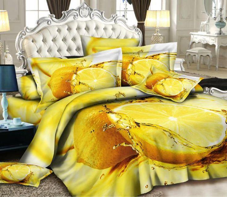 3D Грейпфрут оранжевый дизайнер постельные принадлежности комплект одеяла для королевского размера покрывало пододеяльник кровать в мешок листа спальни одеяло белье