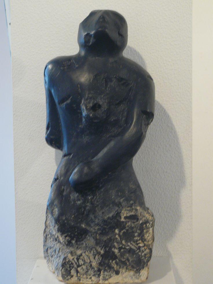 L'Homme Foudroyé d'après le livre de Blaise Cendras. Hommage à VAN LEE sculpture en pierre peinte de Olivier Defay