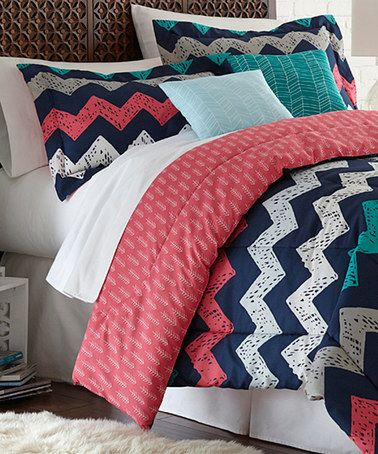 colonial home textiles pink blue chevron reversible comforter set zulilyfinds love this and. Black Bedroom Furniture Sets. Home Design Ideas