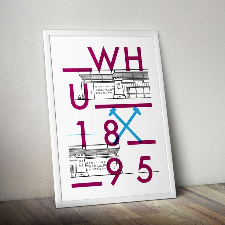 Vector typographic line art poster of West Ham United's Boleyn Ground at Upton Park. Designed by Dan. www.designedbydan.co.uk