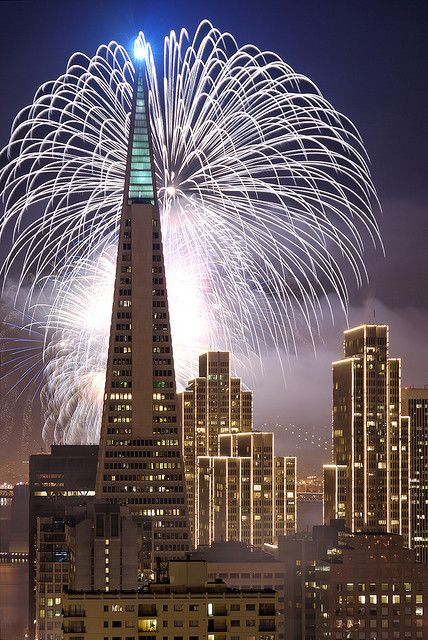 San Francisco New Year's Fireworks, best seen from Treasure island with the tower buildings as a backdrop.