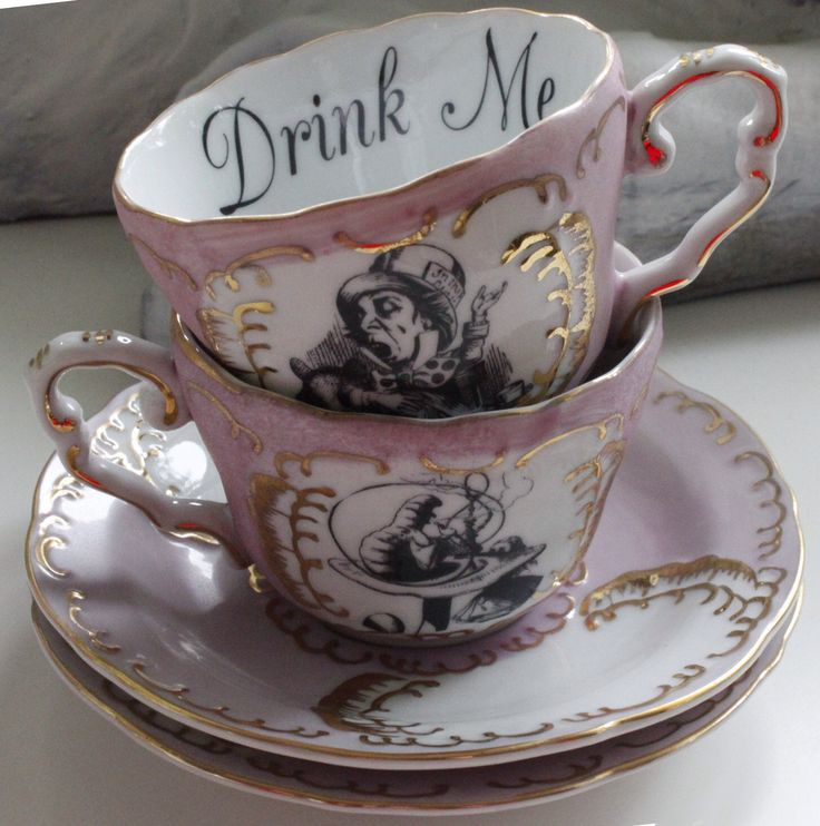 7-Piece Alice in Wonderland Pink and Gold Tea Set, Available in Blue or Green, Lewis Caroll Coffee Set, Alice Tea Party, Payment Plans by AngiolettiDesigns on Etsy https://www.etsy.com/listing/295366285/7-piece-alice-in-wonderland-pink-and