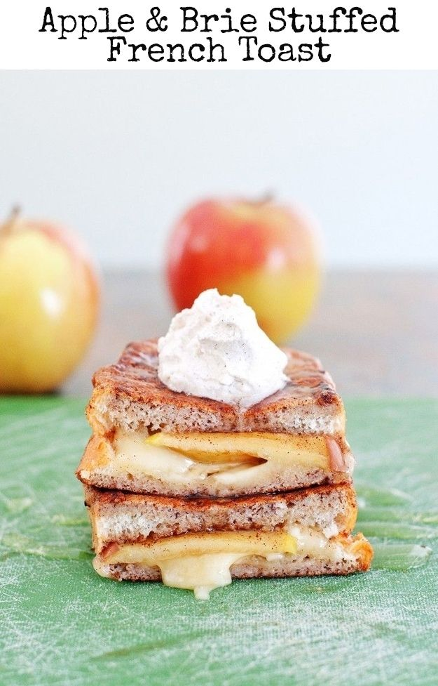 Apple  Brie Stuffed French Toast!  http://www.buzzfeed.com/tashweenali/french-toast-recipes?sub=3106518_2665388