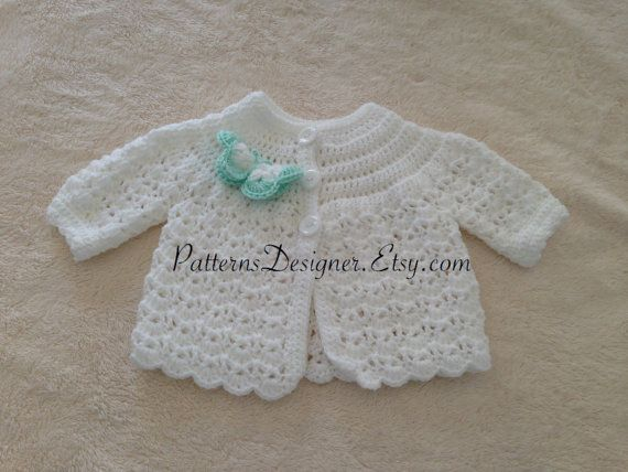 Amy ... PATTERN PT093 Crochet baby jacket Baby by PatternsDesigner