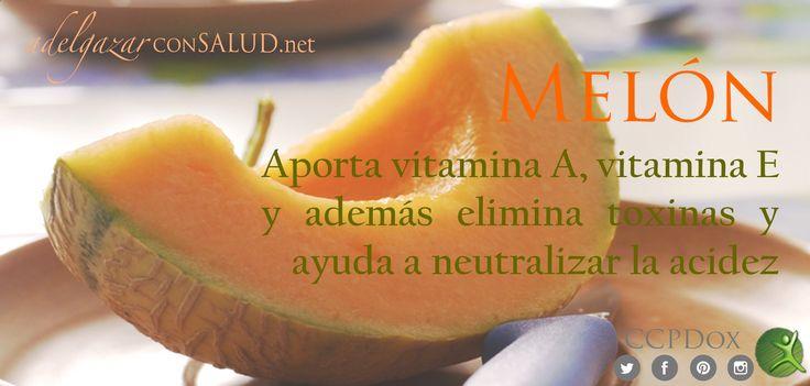 El #melon nos aporta vitamina A, lo que nos ayuda a evitar la sequedad en las mucosas y en la piel; vitamina E, un poderoso antioxidante que previene el cáncer y las enfermedades cardiovasculares, y además es diurético y actúa como un laxante suave, por lo que elimina toxinas y ayuda a neutralizar la acidez. #TipsDox #adelgazar #adelgazarconsalud #salud #alimentacion #nutricion #ccpdox