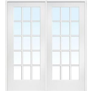 Milliken Millwork 60 in. x 80 in. Classic Clear Glass 15-Lite Composite Double Prehung Interior French Door Z009321BA at The Home Depot - Mobile