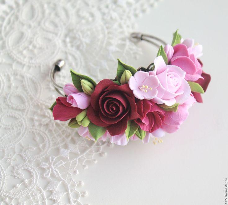 Купить Браслеты - комбинированный, Браслет ручной работы, браслет на руку, браслет с цветами