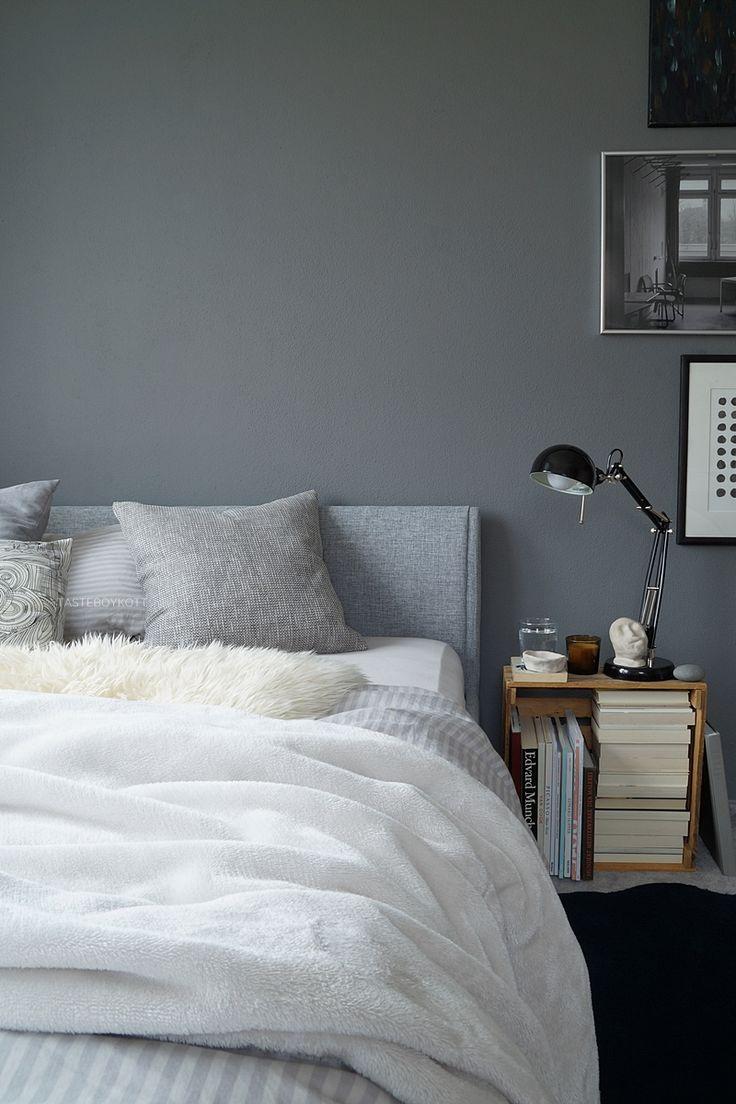 Herbstschlafzimmer in Grautönen in 2020 | Graue wand ...