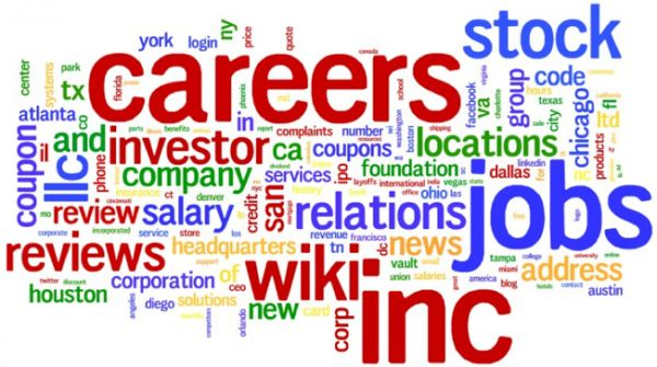 The effects of Google #autocomplete on your reputation. This is a word-cloud  for several Fortune 500 and Inc. 5000 companies, showing the most common values and word groupings displayed in a study featured by Search Engine Land.