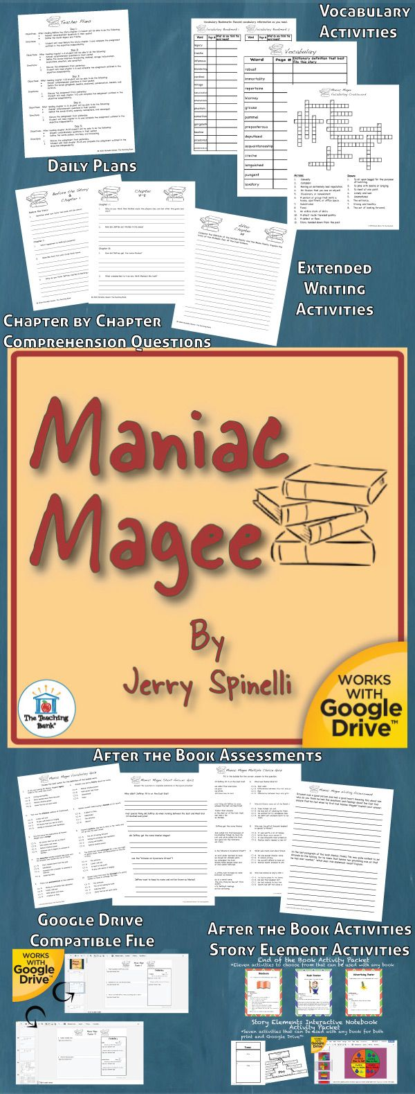 Maniac Magee Novel Study is a Common Core Standard aligned book unit to be used with Maniac Magee by Jerry Spinelli. This download contains both a printable format as well as a Google Drive™ compatible format.