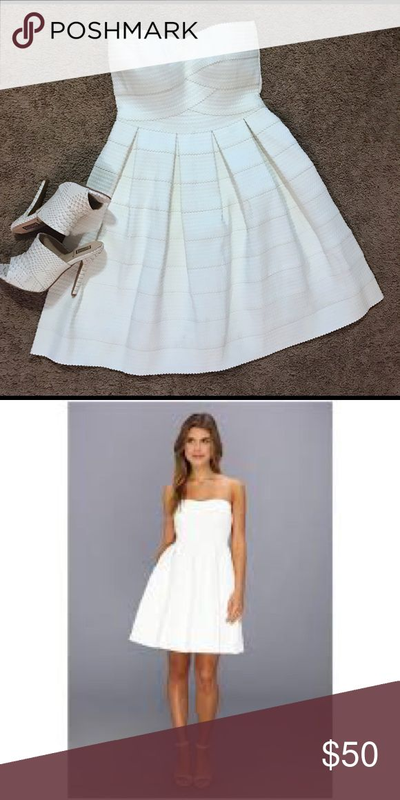 Gabriella Rocha Lorene sweetheart Neckline Dress This strapless flirty white dress is great for many occasions. It's great for a date 😻, and evening out 🍷, a rehearsal dinner 🍴, and more! The top has a silicone lining around the bust to help it stay up (not sticky), and it zips in the back. Please let me know if you have any other questions❓ Gabriella Rocha Dresses Strapless