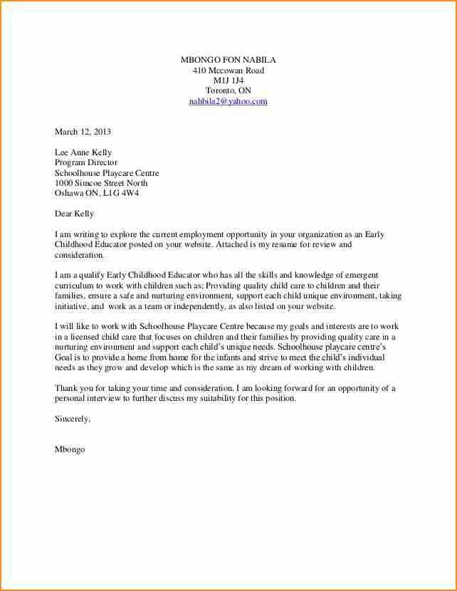 application letter for early childhood teacheride teacher pic cover