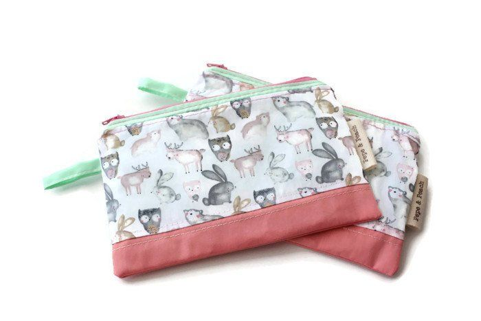 Zipper Pouch, Purse, Coin purse, card pouch, Zipper Case, Cute Owls, Small size in Pink and Mint