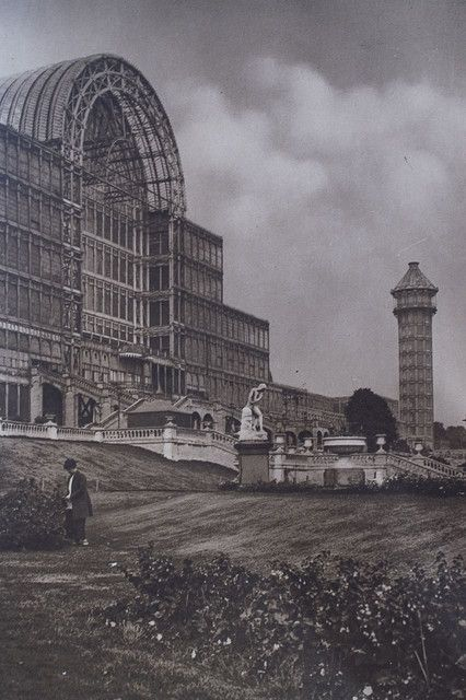 Crystal Palace (1851; Industrial Revolution). Glass walls. World fair in London.