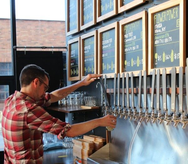 Numbered beer taps at HalfCut OTR; All craft beer and on tap too!