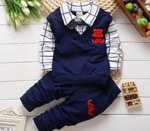Moda new spring & autumn baby boy vestiti set gilet cravatta plaid camicia + vestito di mutanda bambini ragazzi abbigliamento set bambini ragazzo signore(China (Mainland))