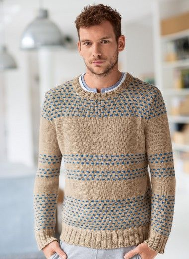 Mag. 178 #02 Round-neck jacquard sweater. $ Available in kit or as single pattern.
