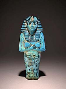 Blue-glazed shabti of the Pharaoh Seti I. The Valley of the Kings, c. 1285 B.C. | The British Museum