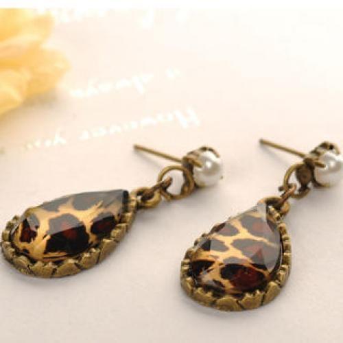 Leopard Print Earrings  Copper - One Size