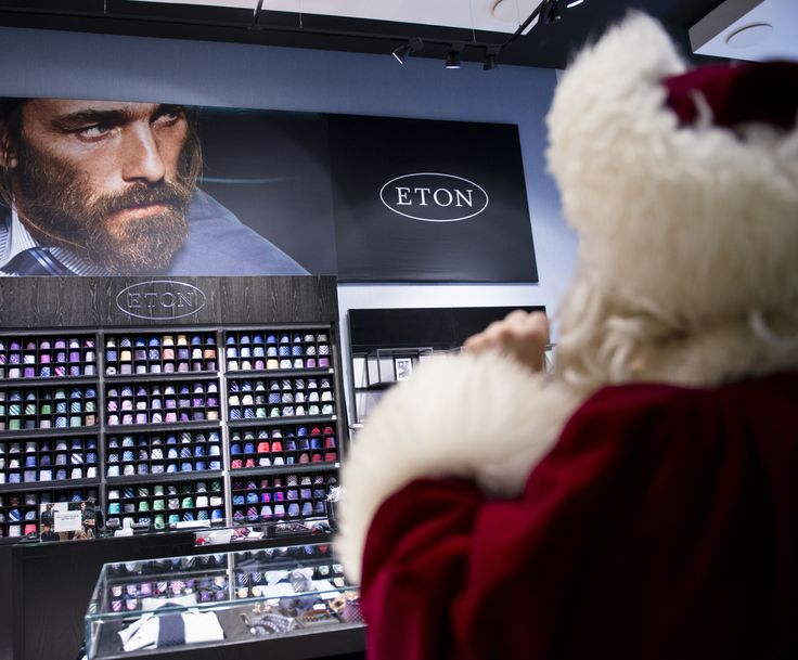 Santa heard that Eton shirts are the hippest thing out there. He's busy convincing the staff that the bearded model is actually a young Santa. #CPHchristmas13