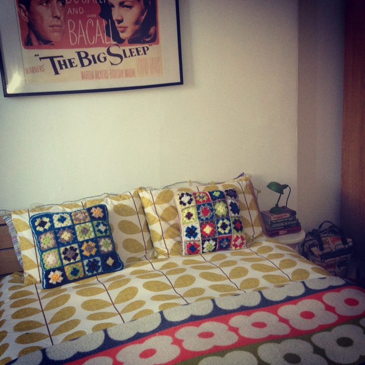 My bedroom - Orla Kiely wool throw and bedding and crochet cushions.